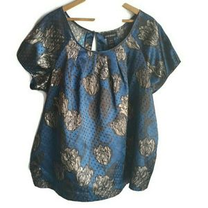 Satin floral blouse by Lane Bryant